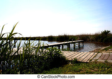 Digital photo of a sea called Neusiedlersee between austria and hungary