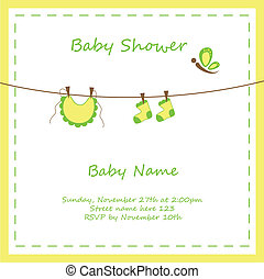 Neutral Baby Invitation - Neutral yellow green baby shower...