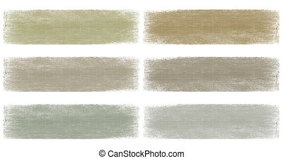 Neutral earth and grey faded grunge banner set isolated
