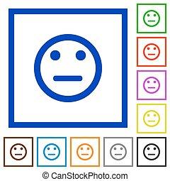 Neutral emoticon framed flat icons