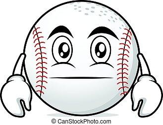 Neutral face baseball cartoon character