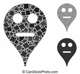 Neutral smiley map marker Composition Icon of Irregular Pieces