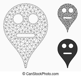 Neutral Smiley Map Marker Vector Mesh Carcass Model and Triangle Mosaic Icon