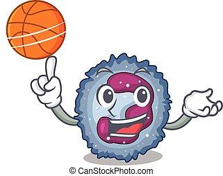 neutrophil, basketboll, maskot, tecken, bild, cell, tecknad ...