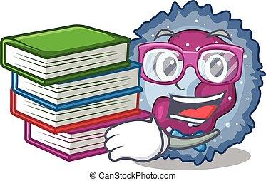 neutrophil, bok, maskot, student, kylig, cell, tecknad film...