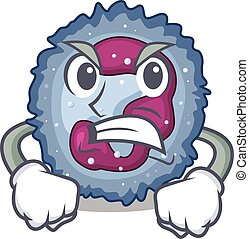Neutrophil cell cartoon character design having angry face. ...