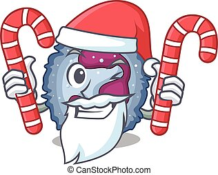 Neutrophil cell Cartoon character in Santa costume with ...