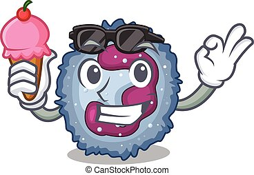 Neutrophil cell mascot cartoon design with ice cream. Vector...