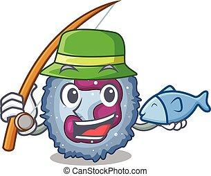 neutrophil, design, bild, fiske, cell, lycklig