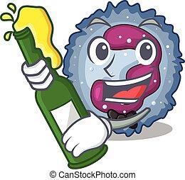 neutrophil, design, maskot, öl, cell, tecknad film, flaska