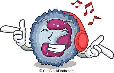 neutrophil, design, maskot, musik, tecken, cell, lyssnande, ...