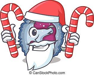 neutrophil, dräkt, godis, tecken, jultomten, cell, tecknad ...