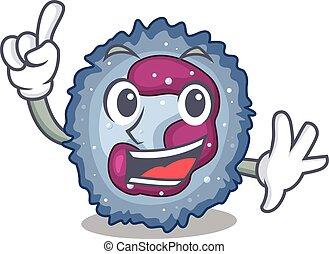neutrophil, finger, maskot, en, tecken, cell, stil, tecknad ...