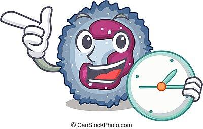 neutrophil, klocka, tecken, ha, cell, stil, tecknad film