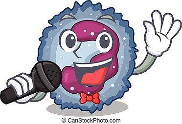 neutrophil, mikrofon, cell, lycklig, sjungande