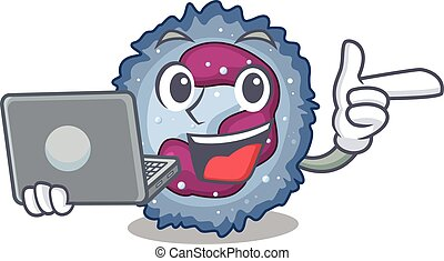 neutrophil, smart, tecken, cell, laptop, arbete