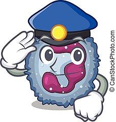 neutrophil, tjänsteman, maskot, utfört, polis, cell, tecknad...