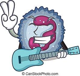 neutrophil, utförande, maskot, cell, gitarr