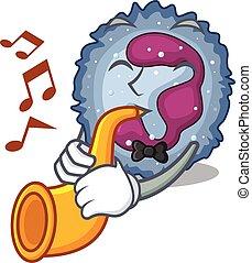 neutrophil, utförande, trumpet, tecken, cell, stil, tecknad ...