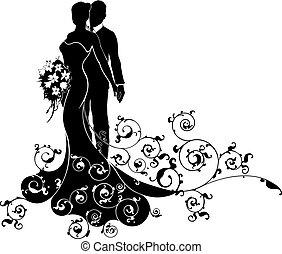 nevěsta, čeledín, silueta, svatba