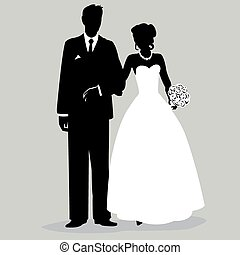 nevěsta i kdy pacholek, silueta, -, illust