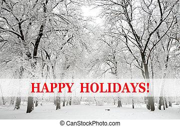 neva-coberto, árvores, e, feliz, feriados, texto