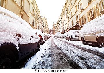 neva-coberto, carros, ligado, paris, ruas, após, snowstorm