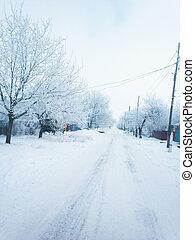 neva-coberto, rua, em, a, steppe, poslelke, após, um, snowstorm