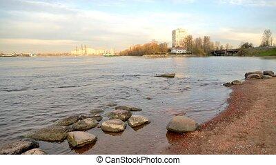 Neva river at evening. - Neva river on the outskirts of St....