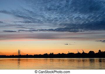 Neva River at sunset. - Neva River at sunset on the ...