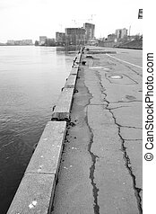 Neva River Embankment on the outskirts of St. Petersburg at ...