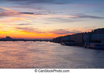 Neva river in dawn. Saint Petersburg, Russia