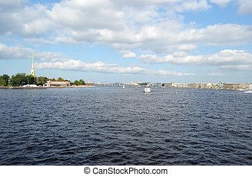Neva River in St.Petersburg - Neva River in center of St....