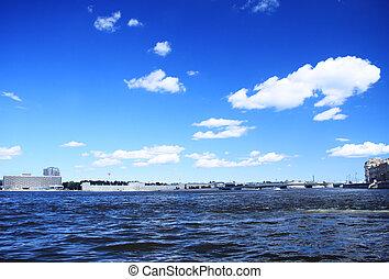 Neva river in summer time Saint Petersburg Russia