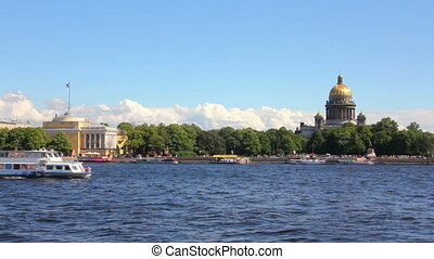 Neva river in the historical center of Saint-Petersburg, Russia