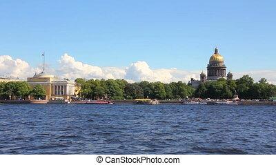 Neva river in the historical center of Saint-Petersburg,...