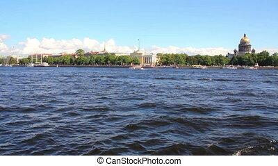 Neva river in the historical center of Saint-Petersburg, Russia - timelapse