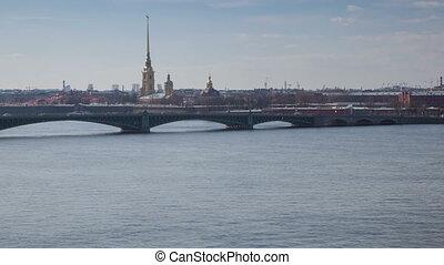 Neva river traffic day timelapse