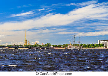 Neva River with a view of the Peter and Paul Fortress in St. Petersburg