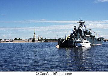 Neva river with Petropavlovskaya fortress view with ...