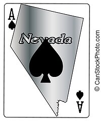 Nevada Ace Of Spades - A Nevada state outline with an ace of...