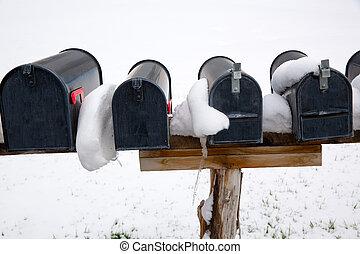 nevada, boîtes lettres, usa, neige