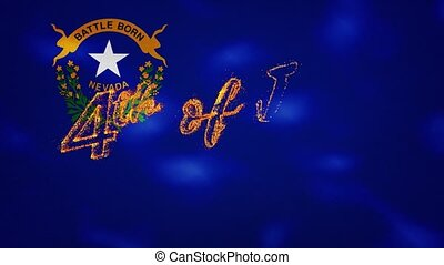 Nevada flag background for 4th of july sparkling fire lettering, loop