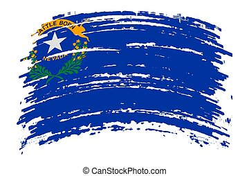 Nevada flag in grunge brush stroke, vector
