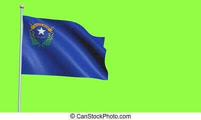 Nevada Flag in 3D render with green screen background in Slow Motion