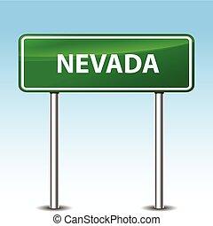 nevada green sign - Illustration of nevada green metal road...