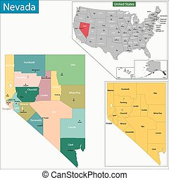 Nevada map - Map of Nevada state designed in illustration...