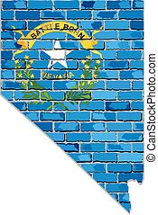 Nevada map on a brick wall - Illustration, The state of ...