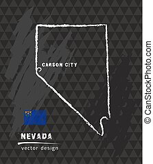 Nevada map, vector pen drawing on black background