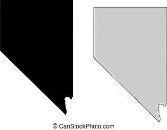 nevada, map., zwarte en, white., mercator, projection.